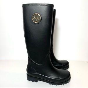 Tory Burch Sarah Black Logo Tall Rain Boots 5